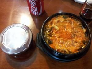 Er zit een goed Koreaans restaurantje bij ons in de buurt. Wel iets duurder, dit hoofdgerecht kostte maarliefst €5,50!